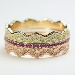 Stacking Wedding Band, Sapphire Wedding Band, Stacking Wedding Ring, Pink Sapphire Ring, Sapphire Gold Ring, Gold Sapphire Ring, Lace Ring | Natural genuine Gemstone rings, simple unique alternative gemstone engagement rings. #rings #jewelry #bridal #wedding #jewelryaccessories #engagementrings #weddingideas #affiliate #ad