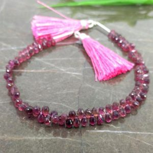 Shop Pink Tourmaline Bead Shapes! Natural Pink Tourmaline 5-6mm Briolette Drops Shape Gemstone Beads / Approx. 106 Pieces on 8 Inch Long Strand / JBC-ET-157283 | Natural genuine other-shape Pink Tourmaline beads for beading and jewelry making.  #jewelry #beads #beadedjewelry #diyjewelry #jewelrymaking #beadstore #beading #affiliate #ad