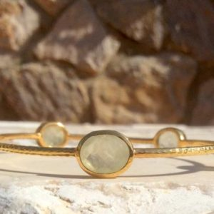 Shop Prehnite Bracelets! Gemstone Gold Bangle, Prehnite Hammered Gold Vermeil Oval Stone Bangle, Five Stone Bangle | Natural genuine Prehnite bracelets. Buy crystal jewelry, handmade handcrafted artisan jewelry for women.  Unique handmade gift ideas. #jewelry #beadedbracelets #beadedjewelry #gift #shopping #handmadejewelry #fashion #style #product #bracelets #affiliate #ad