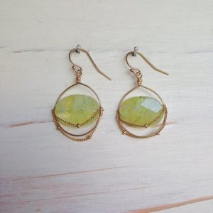 Prehnite Earrings Gemstone Jewelry | Natural genuine Gemstone earrings. Buy crystal jewelry, handmade handcrafted artisan jewelry for women.  Unique handmade gift ideas. #jewelry #beadedearrings #beadedjewelry #gift #shopping #handmadejewelry #fashion #style #product #earrings #affiliate #ad