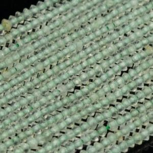 Shop Prehnite Faceted Beads! Genuine Natural Prehnite Loose Beads Grade AAA Faceted Rondelle Shape 2x1mm | Natural genuine faceted Prehnite beads for beading and jewelry making.  #jewelry #beads #beadedjewelry #diyjewelry #jewelrymaking #beadstore #beading #affiliate #ad