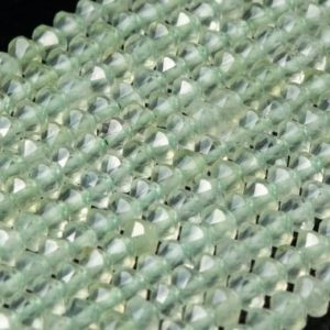 Shop Prehnite Faceted Beads! Genuine Natural Prehnite Loose Beads Grade AAA Faceted Rondelle Shape 4×2.5mm | Natural genuine faceted Prehnite beads for beading and jewelry making.  #jewelry #beads #beadedjewelry #diyjewelry #jewelrymaking #beadstore #beading #affiliate #ad