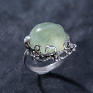 Shop Prehnite Rings! Flower Prehnite Ring, Prehnite Ring, Natural Prehnite, Flower Ring Design, May Birthstone, Vintage Rings, Solid Silver Ring, Prehnite   Natural genuine Prehnite rings, simple unique handcrafted gemstone rings. #rings #jewelry #shopping #gift #handmade #fashion #style #affiliate #ad
