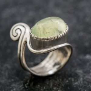 Shop Prehnite Rings! Prehnite Ring, Natural Prehnite, Green Ring, May Birthstone, Artistic Ring, May Ring, Statement Ring, Silver Ring, Unique Ring, Prehnite | Natural genuine Prehnite rings, simple unique handcrafted gemstone rings. #rings #jewelry #shopping #gift #handmade #fashion #style #affiliate #ad