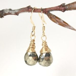 Shop Pyrite Earrings! Pyrite Earrings Gold Filled wire wrapped natural gemstones simple minimalist dainty dangle drops birthday gift for her women mom wife 4885 | Natural genuine Pyrite earrings. Buy crystal jewelry, handmade handcrafted artisan jewelry for women.  Unique handmade gift ideas. #jewelry #beadedearrings #beadedjewelry #gift #shopping #handmadejewelry #fashion #style #product #earrings #affiliate #ad