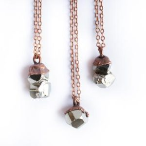 Raw pyrite necklace | Pyrite necklace | Electroformed necklace | Fool's gold necklace | Fool's gold jewelry | Natural genuine Pyrite necklaces. Buy crystal jewelry, handmade handcrafted artisan jewelry for women.  Unique handmade gift ideas. #jewelry #beadednecklaces #beadedjewelry #gift #shopping #handmadejewelry #fashion #style #product #necklaces #affiliate #ad