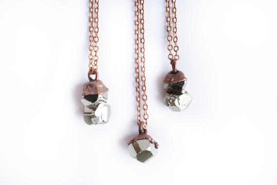 Raw Pyrite Necklace | Pyrite Necklace | Electroformed Necklace | Fool's Gold Necklace | Fool's Gold Jewelry