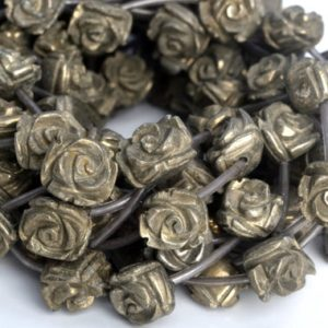 "Shop Pyrite Bead Shapes! 13x11MM 15x12MM Copper Pyrite Beads Flower AAA Genuine Natural Gemstone Half Strand Loose Beads 7.5"" BULK LOT 1,3,5,10,50 (104953h-1385) 
