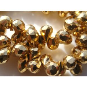 Shop Pyrite Bead Shapes! 4×6-5x7mm Golden Pyrite Faceted Tear Drop, Gold Pyrite Faceted Briolette Beads, 19 Pieces Mystic Gold Pyrite For Jewelry – GPFTD | Natural genuine other-shape Pyrite beads for beading and jewelry making.  #jewelry #beads #beadedjewelry #diyjewelry #jewelrymaking #beadstore #beading #affiliate #ad