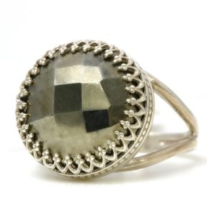 Shop Pyrite Rings! Sterling silver pyrite ring,handmade rings for women,silver ring,gemstone ring,iron pyrite ring,statement ring | Natural genuine Pyrite rings, simple unique handcrafted gemstone rings. #rings #jewelry #shopping #gift #handmade #fashion #style #affiliate #ad