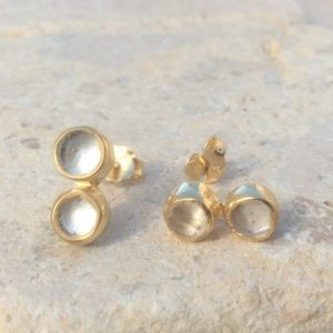 Bridal Earrings, Crystal Quartz Gold Vermeil Stud Earrings, Raw Quartz Double Stone Gold Studs, Crystal Drop Earrings | Natural genuine Gemstone earrings. Buy handcrafted artisan wedding jewelry.  Unique handmade bridal jewelry gift ideas. #jewelry #beadedearrings #gift #crystaljewelry #shopping #handmadejewelry #wedding #bridal #earrings #affiliate #ad