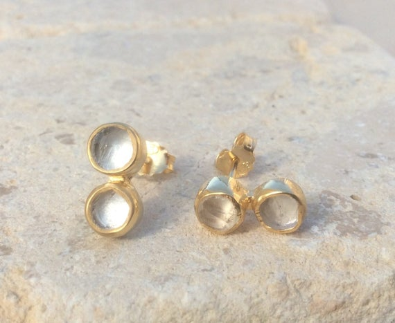 Bridal Earrings, Crystal Quartz Gold Vermeil Stud Earrings, Raw Quartz Double Stone Gold Studs, Crystal Drop Earrings