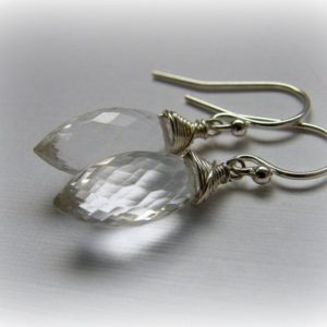 Clear silver earrings, rock crystal earrings, clear quartz sterling silver earrings, clear gemstone silver earrings, clear quartz earrings | Natural genuine Gemstone earrings. Buy crystal jewelry, handmade handcrafted artisan jewelry for women.  Unique handmade gift ideas. #jewelry #beadedearrings #beadedjewelry #gift #shopping #handmadejewelry #fashion #style #product #earrings #affiliate #ad