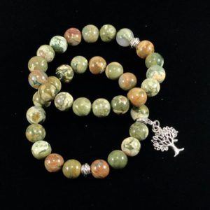 Shop Rainforest Jasper Bracelets! Rhyolite gemstone bracelet/ Tree of Life charm/ Nature Art/ jewelry | Natural genuine Rainforest Jasper bracelets. Buy crystal jewelry, handmade handcrafted artisan jewelry for women.  Unique handmade gift ideas. #jewelry #beadedbracelets #beadedjewelry #gift #shopping #handmadejewelry #fashion #style #product #bracelets #affiliate #ad