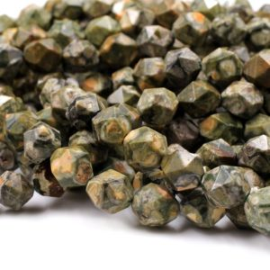 "Natural Rainforest Rhyolite Jasper Faceted Nugget Star Cut Geometric Beads Large Facets 8mm 10mm Faceted Beads 15.5"" Strand 