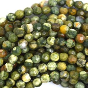 "Shop Rainforest Jasper Beads! 6mm natural faceted green rhyolite round beads 15.5"" strand 36609 