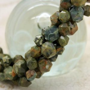 Shop Rainforest Jasper Beads! Green Rhyolite Faceted Round Sphere Natural Gemstone Loose Beads (7mm) | Natural genuine faceted Rainforest Jasper beads for beading and jewelry making.  #jewelry #beads #beadedjewelry #diyjewelry #jewelrymaking #beadstore #beading #affiliate #ad