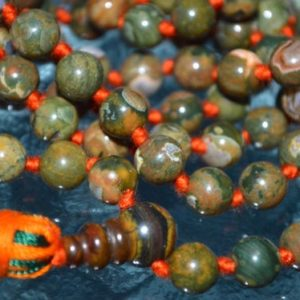 Shop Rainforest Jasper Necklaces! Knotted Rainforest Jasper Mala Rhyolite Beads Necklace – Heal any emotional problems you may have, gives you a deeper connection with nature | Natural genuine Rainforest Jasper necklaces. Buy crystal jewelry, handmade handcrafted artisan jewelry for women.  Unique handmade gift ideas. #jewelry #beadednecklaces #beadedjewelry #gift #shopping #handmadejewelry #fashion #style #product #necklaces #affiliate #ad