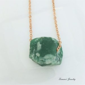Shop Aventurine Necklaces! Raw Aventurine Nugget Necklace / rough Aventurine Pendant / rough Stone Necklace / crystal Nugget / boho Style Layering Jewelry / rose Gold Layering | Natural genuine Aventurine necklaces. Buy crystal jewelry, handmade handcrafted artisan jewelry for women.  Unique handmade gift ideas. #jewelry #beadednecklaces #beadedjewelry #gift #shopping #handmadejewelry #fashion #style #product #necklaces #affiliate #ad