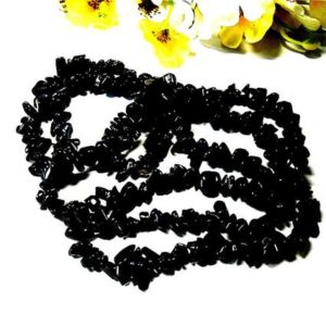 Shop Onyx Chip & Nugget Beads! Raw Black Onyx Chips Beads 5-8 mm 36 inches Cut Rough Gemstone Pebble Jewelry Making Natural Mineral Strand Nugget Tumbled Irregular Gems | Natural genuine chip Onyx beads for beading and jewelry making.  #jewelry #beads #beadedjewelry #diyjewelry #jewelrymaking #beadstore #beading #affiliate #ad