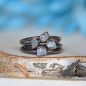 Shop Calcite Jewelry! Raw Calcite Ring, Electroformed Jewelry, Raw Crystal Ring, Unique Gift for Her, Bohemian Jewelry, Stacking Ring, Blue Calcite Ring, Copper | Natural genuine Calcite jewelry. Buy crystal jewelry, handmade handcrafted artisan jewelry for women.  Unique handmade gift ideas. #jewelry #beadedjewelry #beadedjewelry #gift #shopping #handmadejewelry #fashion #style #product #jewelry #affiliate #ad