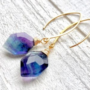 Raw Fluorite earrings Rainbow fluorite jewelry Purple fluorite crystal point Natural gemstone earrings Crystal hexagon earrings Ametrine | Natural genuine Gemstone earrings. Buy crystal jewelry, handmade handcrafted artisan jewelry for women.  Unique handmade gift ideas. #jewelry #beadedearrings #beadedjewelry #gift #shopping #handmadejewelry #fashion #style #product #earrings #affiliate #ad