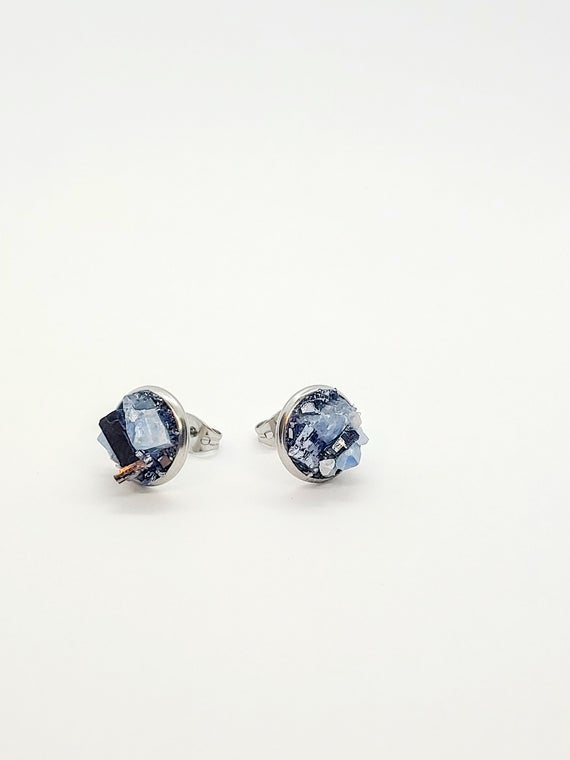 """Raw Blue Calcite & Galena Stud Earrings By Rawopal • Bold 1/2"""" Post Earrings • Hypoallergenic Steel • Natural Crystals • Mothers Day Gift"""