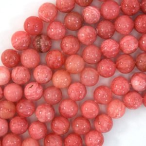"Shop Rhodochrosite Round Beads! Pink Rhodochrosite Colored Quartz Round Beads 15"" Strand 4mm 6mm 8mm 10mm 12mm 