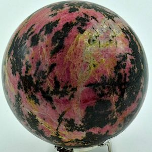 "Shop Rhodonite Shapes! Rhodonite Sphere approx. 4.9"" in diameter and weighs 7.54 Pounds 