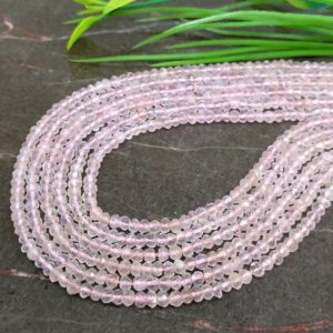 Shop Rose Quartz Faceted Beads! WHOLESALE! Natural Rose Quartz 3-3.5mm Micro Faceted Rondelle Gemstone Beads / Approx 200 pieces on 14 Inch long strand / JBC-ET-147538 | Natural genuine faceted Rose Quartz beads for beading and jewelry making.  #jewelry #beads #beadedjewelry #diyjewelry #jewelrymaking #beadstore #beading #affiliate #ad