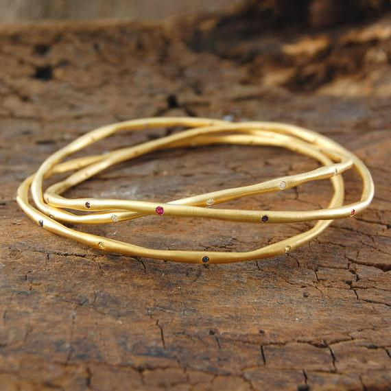 Gold Jewelry, Stackable Bangles, Birthday Gifts, Gemstone Bangle, Ruby Bangle, Handmade Bangle, Birthstone Bangle, Mixed Birthstones