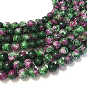Ruby in Zoisite Beads | Round Natural Gemstone Loose Beads | Sold by 15 Inch Strand | Size 4mm 6mm 8mm 10mm 12mm | Natural genuine round Ruby Zoisite beads for beading and jewelry making.  #jewelry #beads #beadedjewelry #diyjewelry #jewelrymaking #beadstore #beading #affiliate #ad