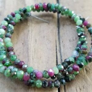 Shop Ruby Zoisite Rondelle Beads! Ruby in Zoisite Faceted Rondelle Bead, 3 x 2mm, Semi Precious Gemstone, Beading Supply, Jewelry Supply | Natural genuine rondelle Ruby Zoisite beads for beading and jewelry making.  #jewelry #beads #beadedjewelry #diyjewelry #jewelrymaking #beadstore #beading #affiliate #ad