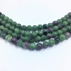 "Shop Ruby Zoisite Round Beads! 6mm round Ruby in Zoisite Gemstone Beads. 15"" strand of high quality beads, about 64 per strand. Green and Black with touches of pink. 