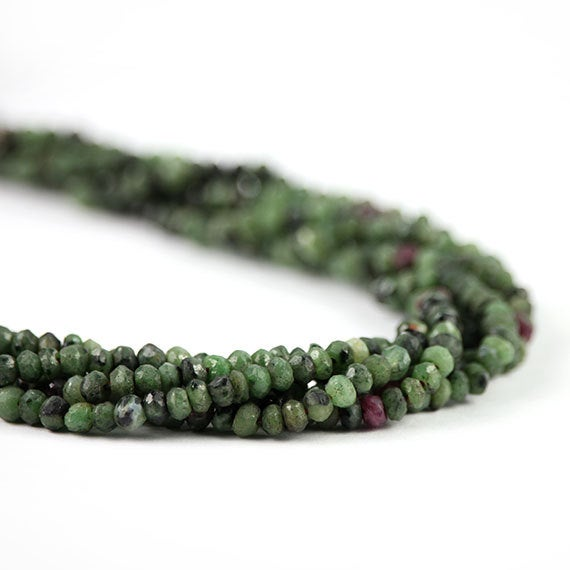 Ruby In Zoisite Micro Faceted Rondelles Quarter Strand Green Pink Semi Precious Gemstones