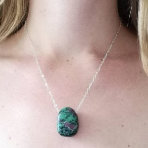 Shop Ruby Zoisite Jewelry! Ruby-in-Zoisite Pendant Necklace – Ruby-Zoisite Pendant – Green Gemstone – Sterling Silver Necklace – Boho Necklace – Healing Gemstones | Natural genuine Ruby Zoisite jewelry. Buy crystal jewelry, handmade handcrafted artisan jewelry for women.  Unique handmade gift ideas. #jewelry #beadedjewelry #beadedjewelry #gift #shopping #handmadejewelry #fashion #style #product #jewelry #affiliate #ad