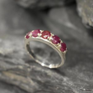Shop Ruby Rings! Wide Ruby Ring, Natural Ruby, Thick Band, July Birthstone, Red Gemstone Ring, Sturdy Band, Statement Band, Red July Ring, Solid Silver Ring | Natural genuine Ruby rings, simple unique handcrafted gemstone rings. #rings #jewelry #shopping #gift #handmade #fashion #style #affiliate #ad