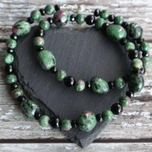 Shop Ruby Zoisite Jewelry! Ruby Zoisite and Onyx Necklace, Chunky Ruby Zoisite Necklace, Onyx and Zoisite Necklace, Black and Green Boho Gemstone Jewellery | Natural genuine Ruby Zoisite jewelry. Buy crystal jewelry, handmade handcrafted artisan jewelry for women.  Unique handmade gift ideas. #jewelry #beadedjewelry #beadedjewelry #gift #shopping #handmadejewelry #fashion #style #product #jewelry #affiliate #ad