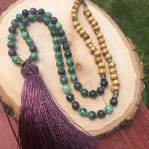 Shop Ruby Zoisite Necklaces! Ruby zoisite and wood beaded tassel necklace, purple tassel necklace, ruby zoisite jewelry, ruby zoisite necklace | Natural genuine Ruby Zoisite necklaces. Buy crystal jewelry, handmade handcrafted artisan jewelry for women.  Unique handmade gift ideas. #jewelry #beadednecklaces #beadedjewelry #gift #shopping #handmadejewelry #fashion #style #product #necklaces #affiliate #ad