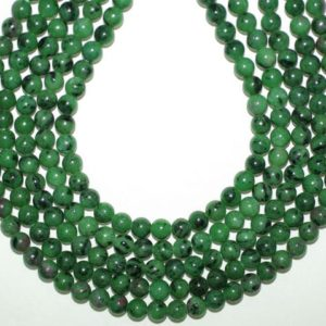 Shop Ruby Zoisite Round Beads! Ruby Zoisite Beads 6mm, Round Beads 16 inches Strand, Green African Ruby Zoisite 6mm Beads | Natural genuine round Ruby Zoisite beads for beading and jewelry making.  #jewelry #beads #beadedjewelry #diyjewelry #jewelrymaking #beadstore #beading #affiliate #ad