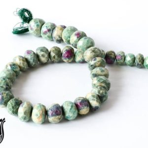 Shop Ruby Zoisite Rondelle Beads! Ruby Zoisite Faceted Roundale 12 to 17 mm,Green,Red color, AAA Quality 15 inch full strand. Very creative & one of a kind 100% natural, | Natural genuine rondelle Ruby Zoisite beads for beading and jewelry making.  #jewelry #beads #beadedjewelry #diyjewelry #jewelrymaking #beadstore #beading #affiliate #ad