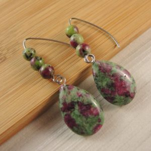 Shop Ruby Zoisite Earrings! Ruby Zoisite Gemstone Tear Drop Statement Pair of Dangle Fashion Beaded Earrings with Stainless Steel Hooks # 2495 | Natural genuine Ruby Zoisite earrings. Buy crystal jewelry, handmade handcrafted artisan jewelry for women.  Unique handmade gift ideas. #jewelry #beadedearrings #beadedjewelry #gift #shopping #handmadejewelry #fashion #style #product #earrings #affiliate #ad