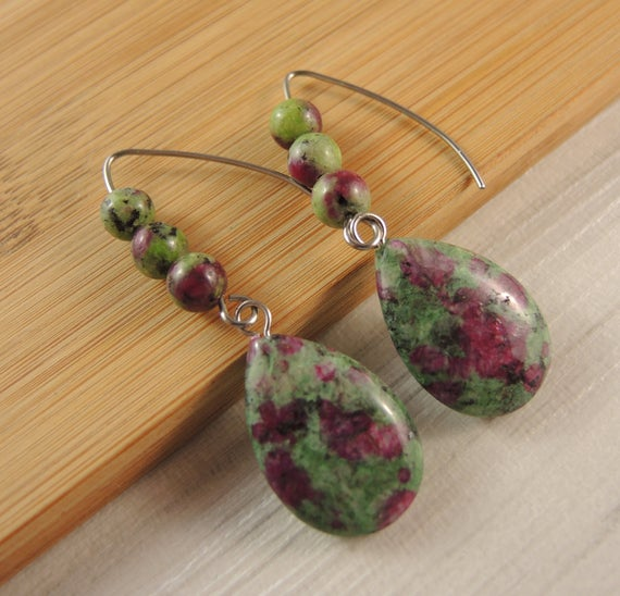 Ruby Zoisite Gemstone Tear Drop Statement Pair Of Dangle Fashion Beaded Earrings With Stainless Steel Hooks # 2495