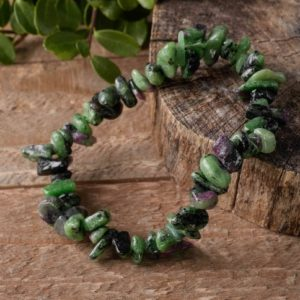RUBY ZOISITE Chip Beaded Bracelet – Crystal Jewelry, Gemstone Bracelet, Healing Crystals and Stones, Birthstone Jewelry E0644 | Natural genuine Ruby Zoisite bracelets. Buy crystal jewelry, handmade handcrafted artisan jewelry for women.  Unique handmade gift ideas. #jewelry #beadedbracelets #beadedjewelry #gift #shopping #handmadejewelry #fashion #style #product #bracelets #affiliate #ad