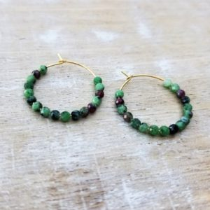 Shop Ruby Zoisite Earrings! Ruby Zoisite Hoop Earrings, Ruby Zoisite Jewelry, Natural Gemstone Hoop Earrings, Pink and Green Hoop Earrings, Ruby Zoisite Hoops | Natural genuine Ruby Zoisite earrings. Buy crystal jewelry, handmade handcrafted artisan jewelry for women.  Unique handmade gift ideas. #jewelry #beadedearrings #beadedjewelry #gift #shopping #handmadejewelry #fashion #style #product #earrings #affiliate #ad