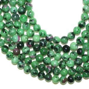 Shop Ruby Zoisite Round Beads! Ruby zoisite Natural 6mm Round Beads Full Strand 16 inches or Half Strand 8 inches | Natural genuine round Ruby Zoisite beads for beading and jewelry making.  #jewelry #beads #beadedjewelry #diyjewelry #jewelrymaking #beadstore #beading #affiliate #ad