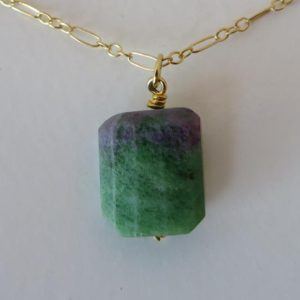 Shop Ruby Zoisite Necklaces! Ruby Zoisite Natural Cut Pendant Necklace – Gold Filled Chain | Natural genuine Ruby Zoisite necklaces. Buy crystal jewelry, handmade handcrafted artisan jewelry for women.  Unique handmade gift ideas. #jewelry #beadednecklaces #beadedjewelry #gift #shopping #handmadejewelry #fashion #style #product #necklaces #affiliate #ad
