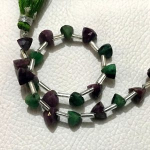 Shop Ruby Zoisite Faceted Beads! Ruby Zoisite Natural Gemstone Size 6 mm Faceted Cut Trillian Shape Gemstone in 7 inc length | Natural genuine faceted Ruby Zoisite beads for beading and jewelry making.  #jewelry #beads #beadedjewelry #diyjewelry #jewelrymaking #beadstore #beading #affiliate #ad