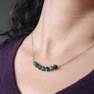 Shop Ruby Zoisite Necklaces! Ruby Zoisite Necklace Faceted Pink Green Gemstone Sterling Silver Healing | Natural genuine Ruby Zoisite necklaces. Buy crystal jewelry, handmade handcrafted artisan jewelry for women.  Unique handmade gift ideas. #jewelry #beadednecklaces #beadedjewelry #gift #shopping #handmadejewelry #fashion #style #product #necklaces #affiliate #ad