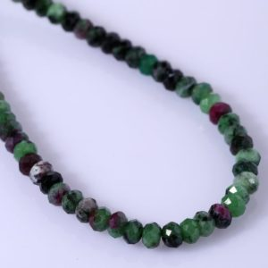 Shop Ruby Zoisite Jewelry! Ruby Zoisite Necklace Faceted Rondelle Beaded Necklace Semi Precious Gemstone Anniversary Gift For Wife Christmas Gift For Her Birthday Gift | Natural genuine Ruby Zoisite jewelry. Buy crystal jewelry, handmade handcrafted artisan jewelry for women.  Unique handmade gift ideas. #jewelry #beadedjewelry #beadedjewelry #gift #shopping #handmadejewelry #fashion #style #product #jewelry #affiliate #ad